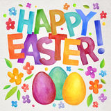 Happy Easter vector watercolor illustration Stock Photography