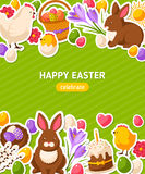 Happy Easter Vertical Banner With Flat Stickers Royalty Free Stock Images