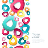 Happy Easter  vertical seamless white background with 3d stylized multicolor easter eggs. Royalty Free Stock Photos