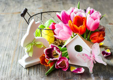 Happy easter vintage festive spring composition with flowers Royalty Free Stock Photography