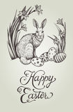 Happy Easter vintage hand drawn card illustration with bunny, festive eggs and narcissus flowers. Royalty Free Stock Photos