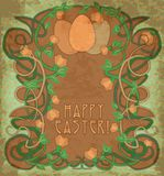 Happy Easter wallpaper in art nouveau style Stock Photo