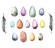 Happy Easter! Watercolor hand drawn Easter egg collection. 100% Royalty Free Stock Photo