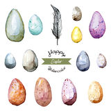 Happy Easter! Watercolor hand drawn Easter egg collection. 100% Stock Photos