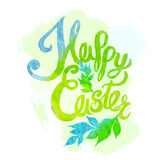 Happy easter watercolor painted colored stylized handwritten gre Stock Photos