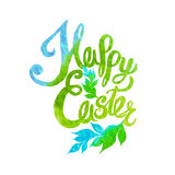 Happy easter watercolor painted colored stylized handwritten gre Royalty Free Stock Photos