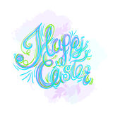 Happy easter watercolor painted colored stylized handwritten gre Royalty Free Stock Photography