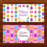 Happy Easter web banners on wooden texture Stock Photo