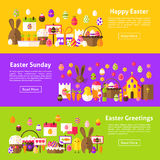 Happy Easter Web Horizontal Banners Royalty Free Stock Photography