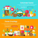 Happy Easter Website Banners Stock Photos