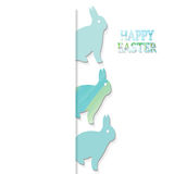 Happy easter. White background with  colored  rabbit Royalty Free Stock Image