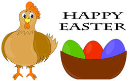 Happy easter. White background with hen and easter eggs Stock Photos