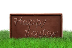 Happy Easter on white background. Happy Easter text on chocolate bar on white background Stock Images