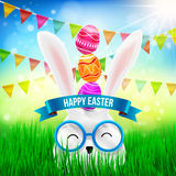 Happy Easter with White Bunny and Easter Eggs Over on Head royalty free illustration