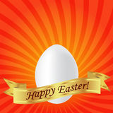 Happy Easter. White easter egg on a red background with stripes. And gold ribbon Stock Images