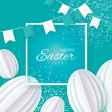 Happy Easter. White Paper cut Easter Egg, flags. Square frame. Origami Happy Easter Greeting card. White Paper cut Easter Egg, flags. Square frame. Blue Royalty Free Stock Images
