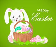 Happy Easter white rabbit and basket with Easter eggs. Vector illustration Royalty Free Stock Photos