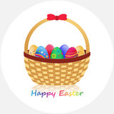 Happy Easter!. Wicker Basket with Easter Eggs on White background. Vector Illustration stock illustration