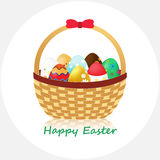 Happy Easter!. Wicker Basket with Easter Eggs  on White background. Vector Illustration Stock Photography