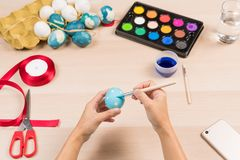 Happy easter, women is painting the easter eggs for easter day festival holiday, easter concept backgrounds with copy space Stock Image
