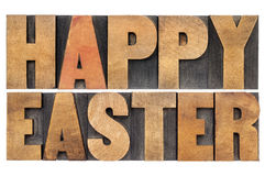 Happy Easter in wood type Stock Photography