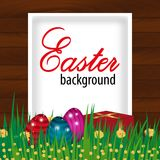 Happy Easter wooden background with eggs, grass, flowers and present. Vector. Illustration Royalty Free Stock Image