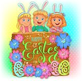 Happy Easter wooden banner with paper flowers and cute kids. Vector illustration royalty free stock photo