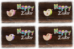 Happy Easter Wooden Bird White Frame Stock Image