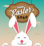 Happy Easter 2017 with wooden board. Hanging and smiling rabbit. Vector illustration Royalty Free Stock Images
