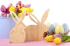 Happy Easter Wooden Bunnies Stock Photo