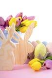 Happy Easter Wooden Bunnies Stock Image