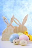 Happy Easter Wooden Bunnies Royalty Free Stock Image