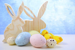 Happy Easter Wooden Bunnies Royalty Free Stock Images