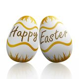Happy Easter Written on Eggs Royalty Free Stock Photography