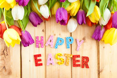Happy Easter written in multicolored letters Royalty Free Stock Photo