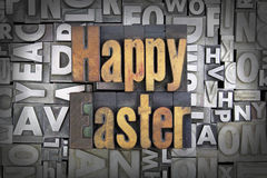 Happy Easter. Written in vintage letterpress type Stock Photos