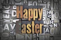 Happy Easter. Written in vintage letterpress type stock photos