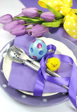 Happy Easter Yellow And Purple Mauve Lilac Theme Easter Table Place Setting - Close Up Stock Photography