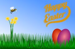 Happy Easter, yellow flowers with bees stock illustration