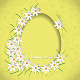 Happy easter yellow. With white flowers Stock Images