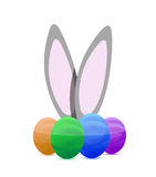 Happy eastern eggs and bunny illustration Royalty Free Stock Photo