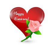 Happy eastern red heart and rose illustration Royalty Free Stock Images