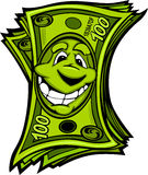 Happy Easy Money Cartoon Illustration. Cartoon Money Hundred Dollar Bills with Smiling Face Cartoon Image Royalty Free Stock Photos