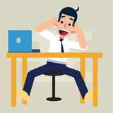 Happy easy work in office. Happy office man do his easy work on desk. Positive work thinking Royalty Free Stock Photography
