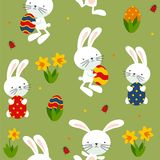 Happy Eater with rabbits, daffodils, eggs. royalty free illustration