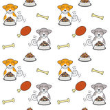 Happy eating dogs seamless pattern. Happy dogs sit near full bowls of foods. Eating dogs. Vector line seamless pattern color on white background Stock Photos