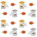 Happy eating dogs seamless pattern. Happy dogs sit near full bowls of foods. Eating dogs. Vector line seamless pattern color on white background Royalty Free Stock Photography
