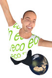 Happy eco man on World Royalty Free Stock Photo