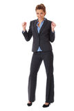 Happy and ecstatic businesswoman, isolated Royalty Free Stock Images