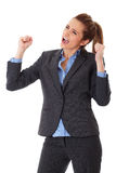 Happy and ecstatic businesswoman on white Stock Images